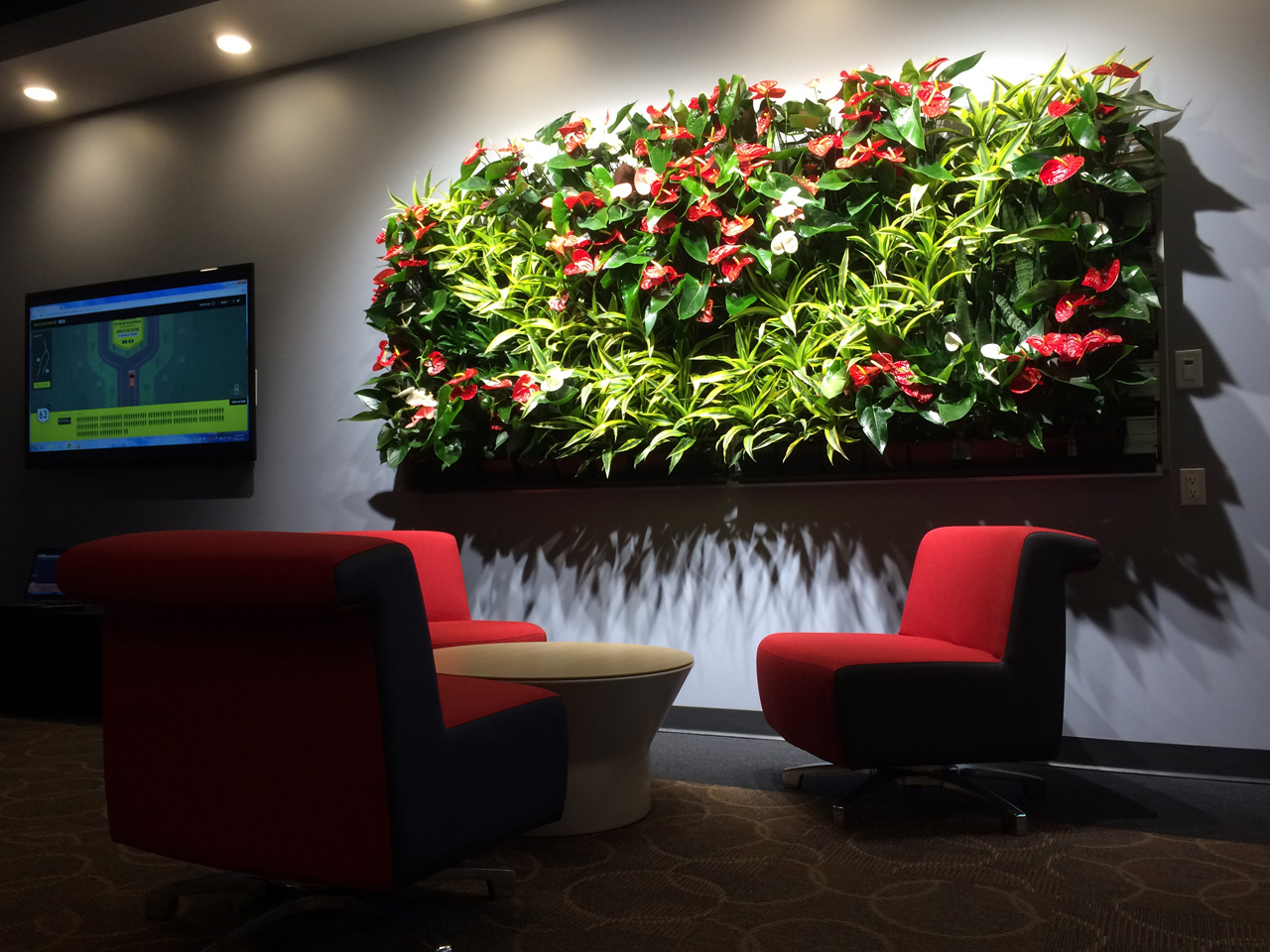 ACSA green wall with flowering plants