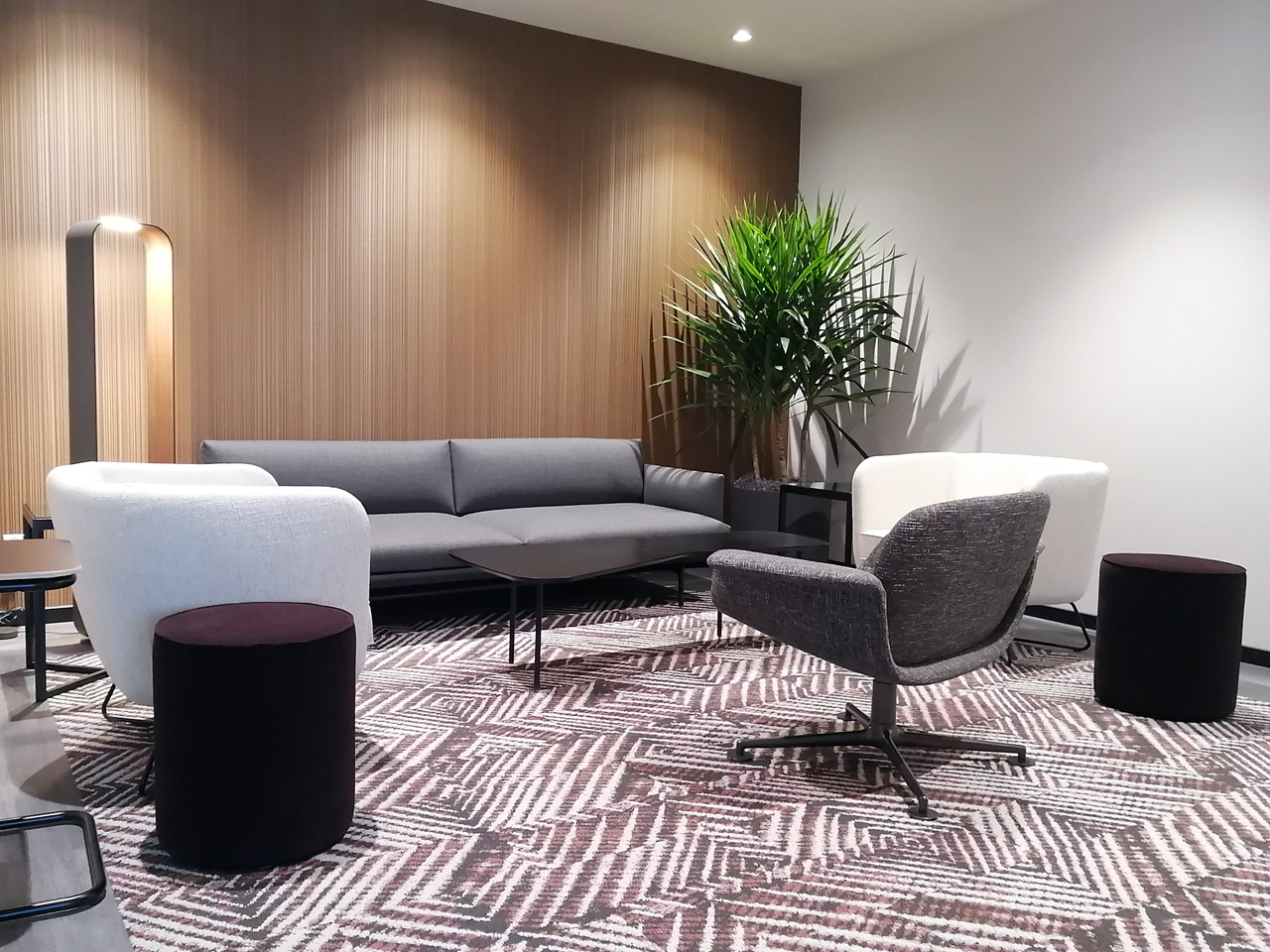 Biophilic design offers this reception area a calming atmosphere.