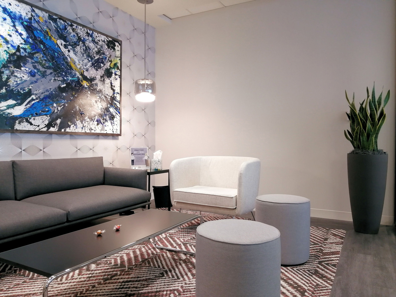 Biophilic design can be clean and simple like this reception space